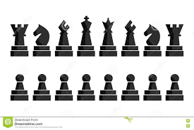 black chess icons set chess board figures vector illustration