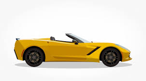 cartoon convertible car yellow convertible car cartoon with side details and shadow effect