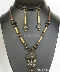 long necklace fashion jewelry images Terracotta jewelry necklace sets with earrings handmade from clay JPG