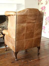 Leather Queen Anne Chair Handmade Chesterfield Queen Anne High Back Wing Chair In Vintage