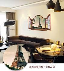 Eiffel Tower Bedroom Decor Scenery Diy Wall Stickers 3d False Window Eiffel Tower Background