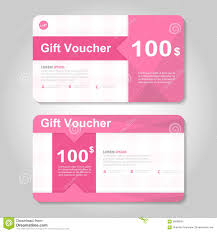 cute pink and gold gift voucher template layout design set