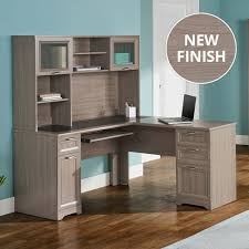 Realspace Shore Collection by Realspace Magellan L Shaped Desk And Hutch Bundle Perfect Light