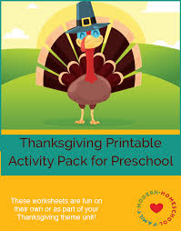 free thanksgiving printable activity pack for preschool