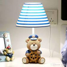 Cute Bear Captain Baby Room Table Lamp Cartoon Fabric Boy Girl - Lamp for kids room