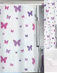 fabric shower curtain and butterfly purple color