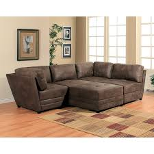 furniture brown leather modular sectional sofa with cozy carpet