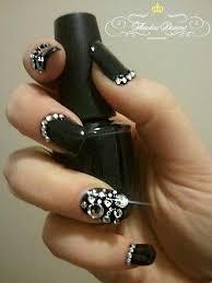 wedding nail designs black and rhinestone nail art 2026099