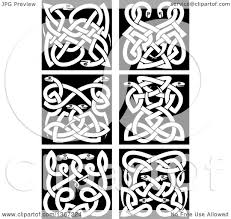 clipart of white celtic knot snake designs on black royalty free