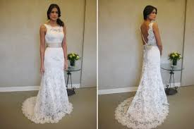formal white lace sweep train bridal gown simple popular custom
