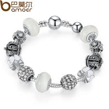 leather bracelet with silver charms images Bamoer silver charm bracelet bangle with royal crown charm and jpg