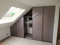 fitted wardrobes for sloping ceilings with light glossy brown