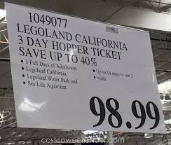 Costco Six Flags Tickets Legoland California 3 Day Hopper Ticket Costco Weekender