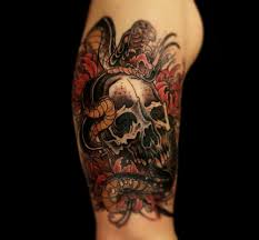 half sleeve tattoo japanese designs cool traditional snake with skull tattoo design for half sleeve