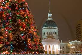 st louis downtown christmas tree lights and snow winter