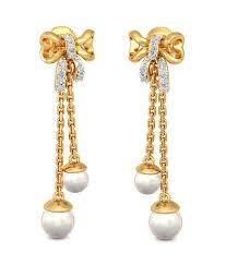 gold earrings images bluestone 18k yellow gold diamond pearl wauna earrings buy