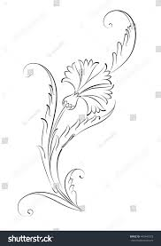 ottoman motif carnation drawing stock vector 443445373 shutterstock