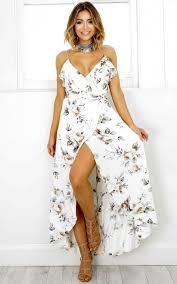 white maxi dress emmy maxi dress in white floral showpo