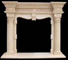 grand richmond column marble fireplace mantel cream fluted