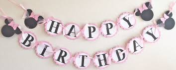 minnie mouse birthday light pink white polka dot mouse happy birthday banner