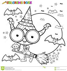 coloring page halloween witch flying with broom stock vector