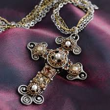 vintage cross necklace images Vintage jeweled cross necklace by sweet romance jpg