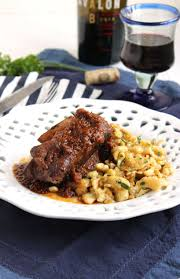 slow cooker braised beef short ribs with herbed spaetzle the