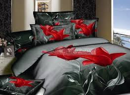 Red And Grey Comforter Sets Elegant Dark Grey Active Printing Red Floral Cotton 4 Piece