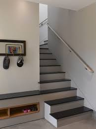 brown stairs staircase contemporary with shoe storage brushed