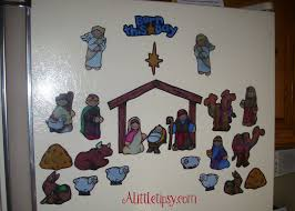 diy magnetic nativity advent alternatively put stickers on a