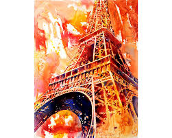 painting of the 19th century eiffel tower la tour eiffel in