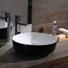 sink bowls on top of vanity bathroom vanity basin round glossy white black ceramic sink bowl