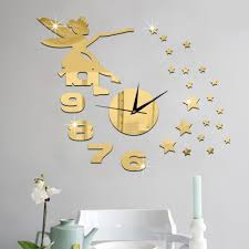 3d fairy stars mirror effect wall clock sticker fashion design art 3d fairy stars mirror effect wall clock sticker fashion design art decals creative home decoration in wall stickers from home garden on aliexpress com