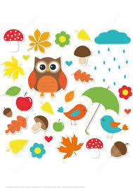 printable stickers with owl mushrooms leaves raining cloud