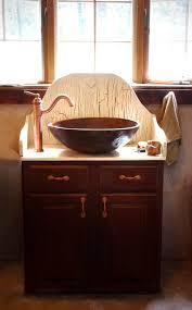 unique wooden bathroom vanity in half round design idea unique