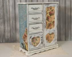 Jewelry Armoire Vintage Decoupage Jewelry Etsy