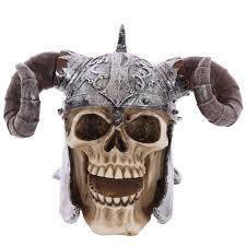 skull ornament wearing twisted rams horn helmet