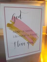 sister gift art print unframed pink gold wall decor sister