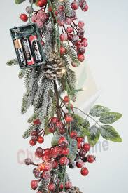 decor frosted berry pre lit garland for decoration