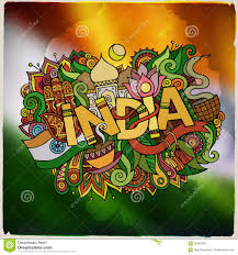 india country hand lettering and doodles elements stock vector