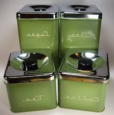 Green Kitchen Canisters Retro Canister Sets For Kitchen Counter Decorative Canisters