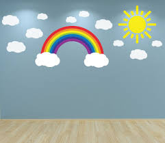 rainbow clouds and sun wall art decal sticker nursery bedroom rainbow clouds and sun wall art decal sticker nursery bedroom playroom baby room