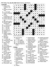 the new york times crossword in april 2009