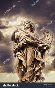 berninis marble statue angel santangelo bridge stock photo