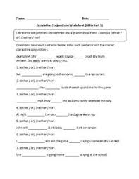 conjunctions coordinating correlative and subordinating