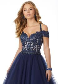 soft net prom dress with beaded lace bodice and cold shoulder