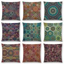 taie coussin canapé boho coloré abstrait ethnique floral mandalas motif affiches vintage