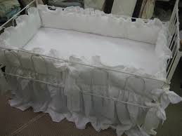 White Ruffle Crib Bedding Vintage White Washed Linen Crib Bedding 2 Ruffled