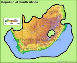 africa map landforms south africa physical map