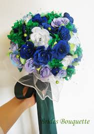 Royal Blue Boutonniere Revised Boutonniere And Bouquette Emerald Green And Blue Paper